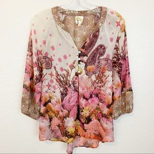 Fig and Flower Anthropologie Chiffon Plant Blouse